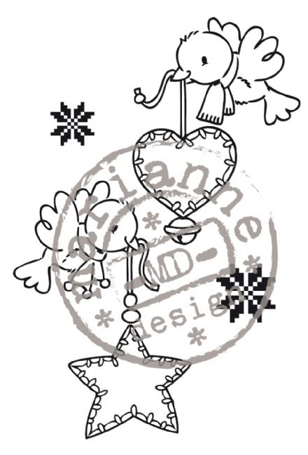EC0134 ~ FLYING CHRISTMAS ~ ELINE'S CHRISTMAS ~ Marianne Designs Clear stamp